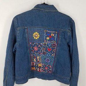Vintage embroidered denim jacket Agapo Women's Med